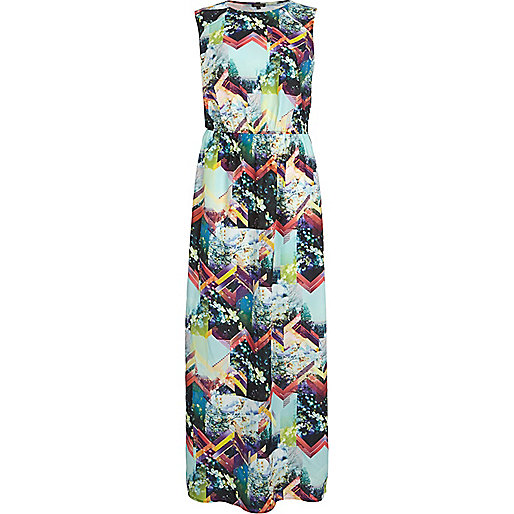 Black geometric floral print maxi dress