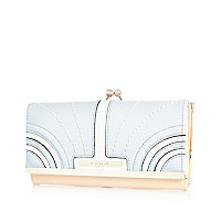 Light blue curved panel purse