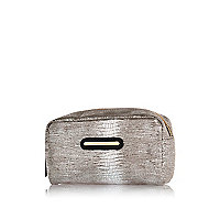 Silver metallic small make up bag