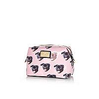 Pink pug print make up bag