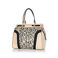 Light pink snake print structured tote bag