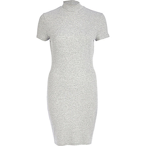 Grey marl turtle neck mini dress