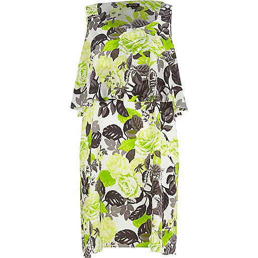 Green floral double layer cut out back dress