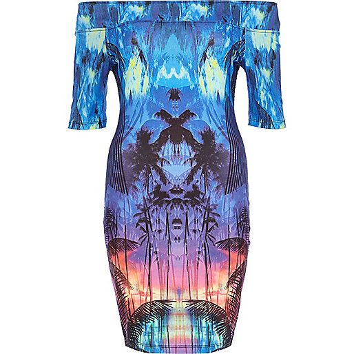 Blue tropical print bardot dress