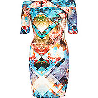 Blue geometric space print bardot dress