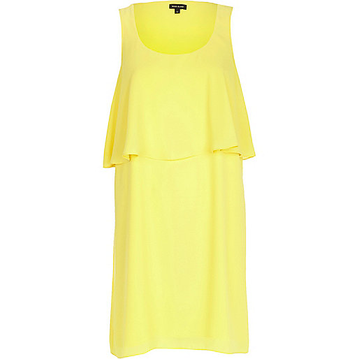 Yellow double layer cut out back dress