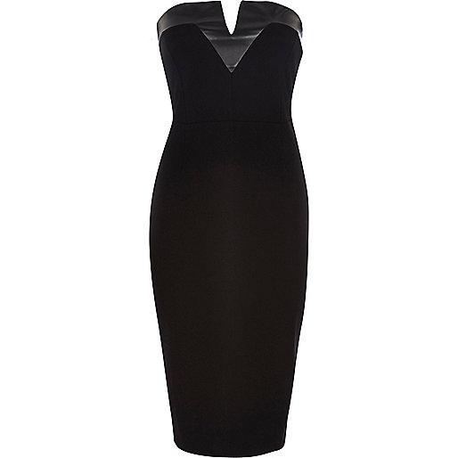 Black leather-look trim bandeau dress