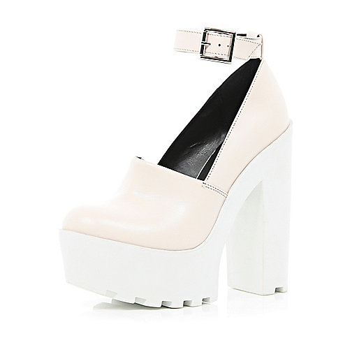 Light pink chunky cleated sole platforms