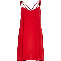 Red strappy swing dress