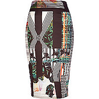 Black abstract print pencil skirt
