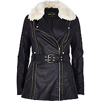 Black shearling leather-look biker jacket