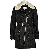 Black faux fur collar biker trench coat