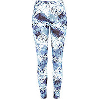 Blue tie dye scuba leggings