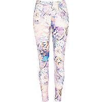 Pink floral print scuba leggings