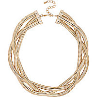 Gold tone twisted chain statement necklace