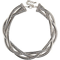 Silver tone twisted chain statement necklace