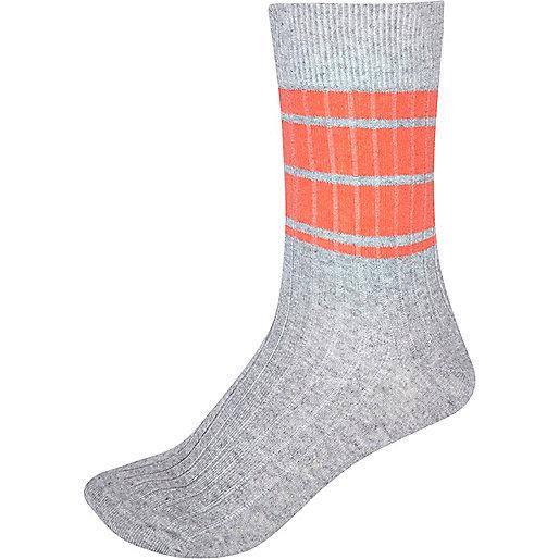 Grey marl colour block ankle socks