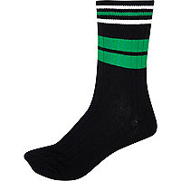 Black colour block ankle socks