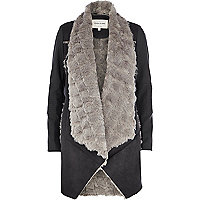 Black faux fur lined waterfall jacket