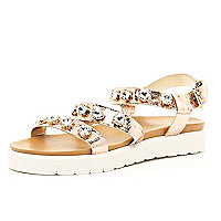 Gold gem stone embellished flatform sandals