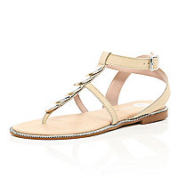 Beige metal trim T bar sandals