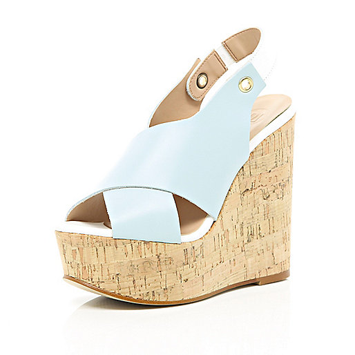 Light blue cross strap cork wedges