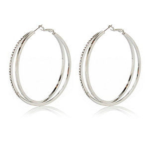 Silver tone double row diamante hoop earrings