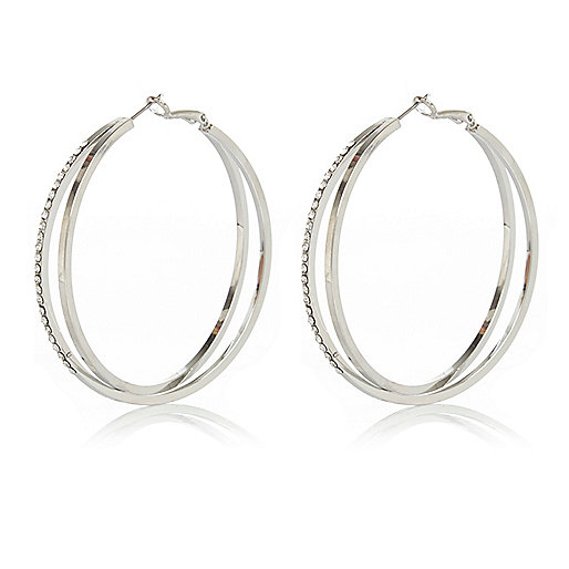 Silver tone double row diamante hoop earrings