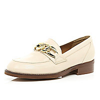 Nude leather chain trim loafers