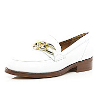 White leather chain trim loafers