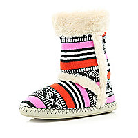 Cream tribal print knit faux fur lined boots