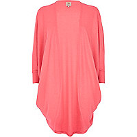 Bright pink draped longline cardigan
