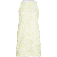 Yellow lace collared sleeveless shift dress