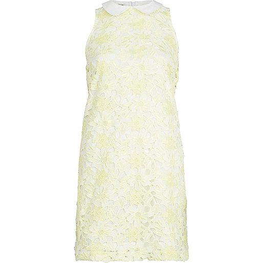 Yellow lace collared sleeveless shift dress