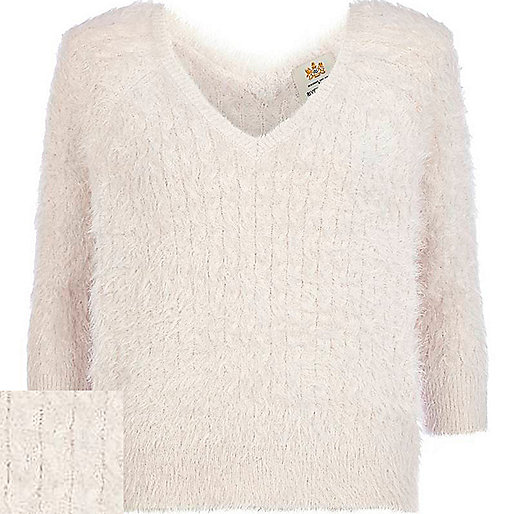 Cream fluffy cable knit V neck jumper