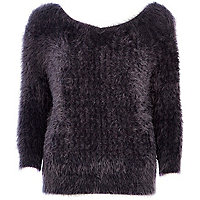 Charcoal fluffy V neck jumper
