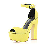 Yellow peep toe platform sandals