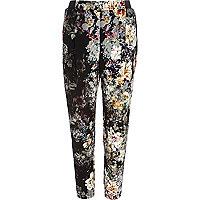 Grey floral print joggers