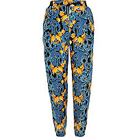 Blue baroque art print joggers