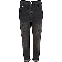 Black animal print slim Mom jeans