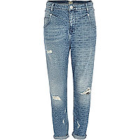 Light wash laser print ripped slim Mom jeans