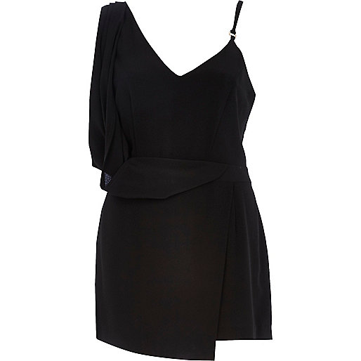 Black asymmetric skort playsuit