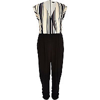 Cream stripe wrap front jumpsuit