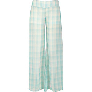 Light green sheer checked palazzo pants
