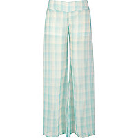 Green check palazzo trousers