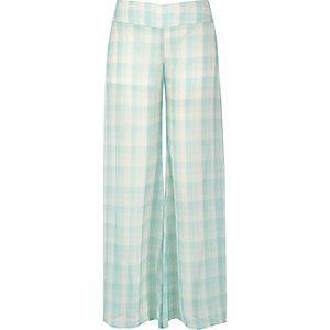 Green check palazzo pants