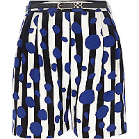 Black striped spot print high waisted shorts