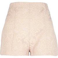 Light pink jacquard high waisted shorts
