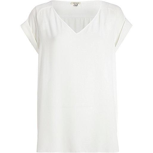 White V neck woven t-shirt