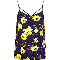 Purple floral print strappy cami top
